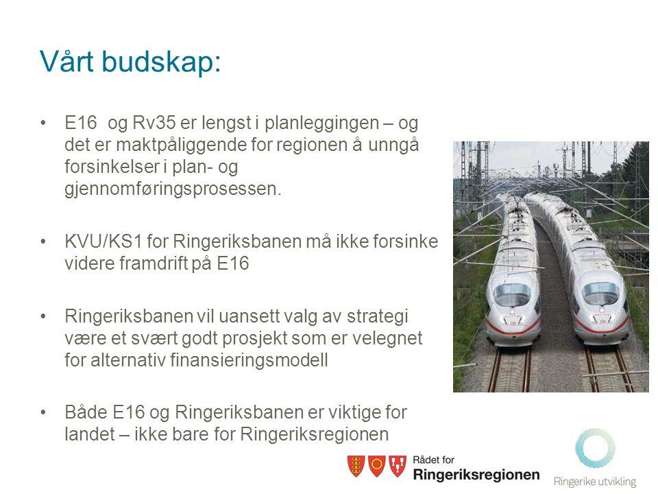 Vårt budskap: •E16 og Rv35 er lengst i planleggingen – og det er maktpåliggende for regionen å unngå forsinkelser i plan- og gjennomføringsprosessen.