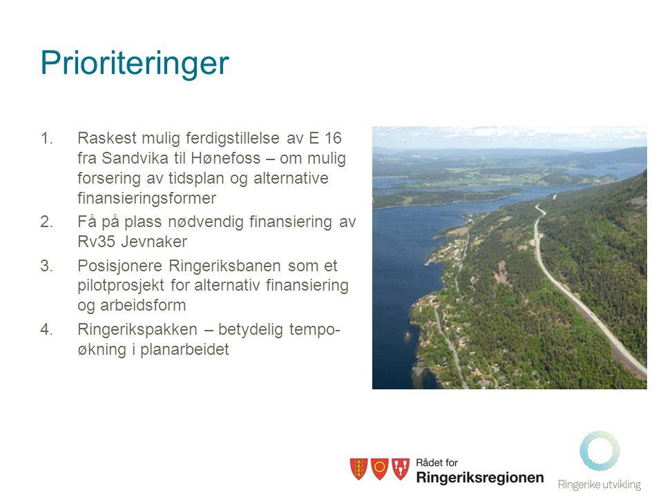 Prioriteringer 1.Raskest mulig ferdigstillelse av E 16 fra Sandvika til Hønefoss – om mulig forsering av tidsplan og alternative finansieringsformer 2.Få på plass nødvendig finansiering av Rv35 Jevnaker 3.Posisjonere Ringeriksbanen som et pilotprosjekt for alternativ finansiering og arbeidsform 4.Ringerikspakken – betydelig tempo- økning i planarbeidet
