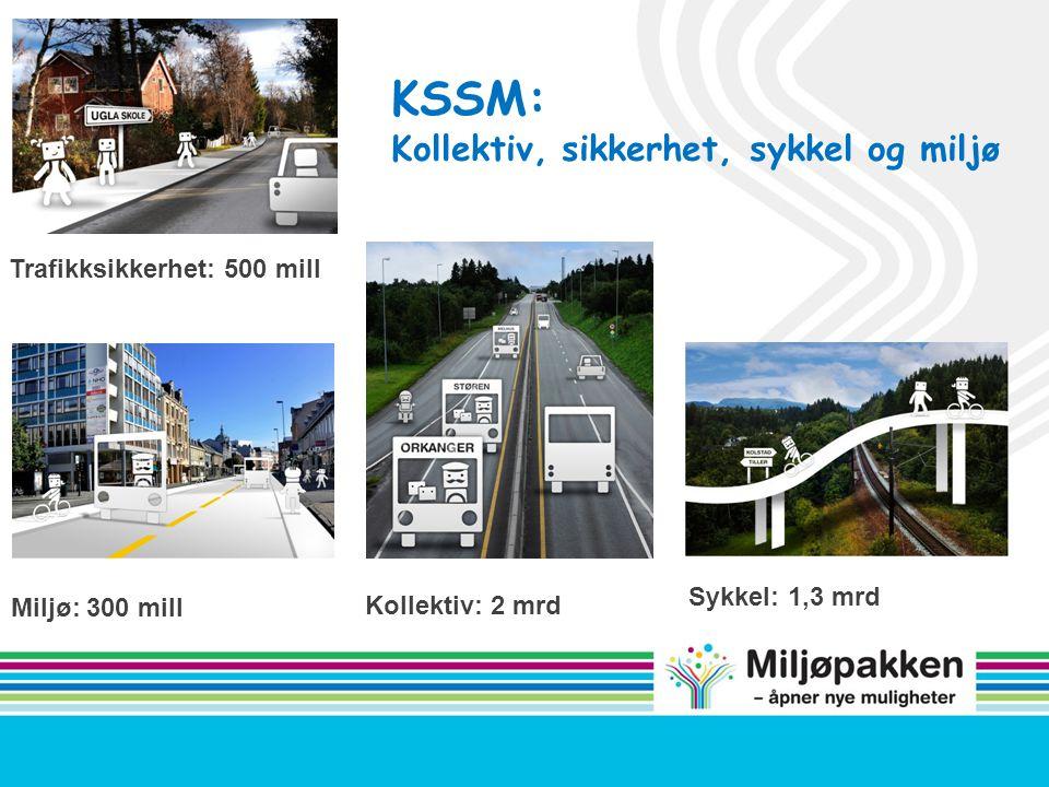 Trafikksikkerhet: 500 mill Miljø: 300 mill Sykkel: 1,3 mrd Kollektiv: 2 mrd KSSM: Kollektiv, sikkerhet, sykkel og miljø