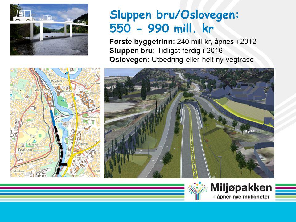 Sluppen bru/Oslovegen: 550 - 990 mill. kr Første byggetrinn: 240 mill kr, åpnes i 2012 Sluppen bru: Tidligst ferdig i 2016 Oslovegen: Utbedring eller