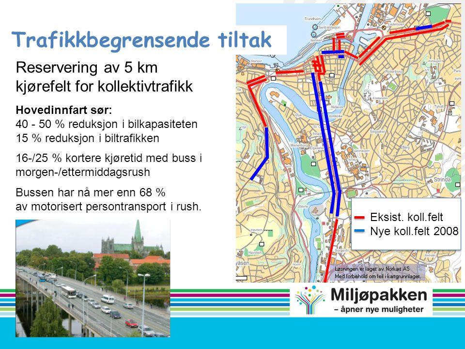 Eksist. koll.felt Nye koll.felt 2008 Trafikkbegrensende tiltak Reservering av 5 km kjørefelt for kollektivtrafikk Hovedinnfart sør: 40 - 50 % reduksjo