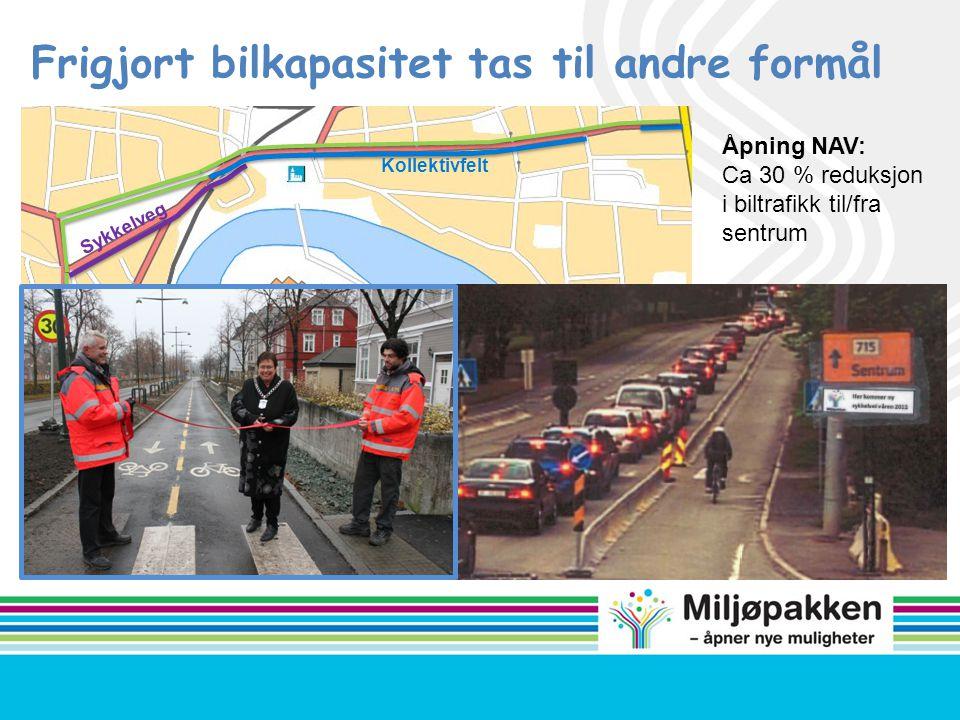 Sykkelveg Kollektivfelt Frigjort bilkapasitet tas til andre formål Åpning NAV: Ca 30 % reduksjon i biltrafikk til/fra sentrum