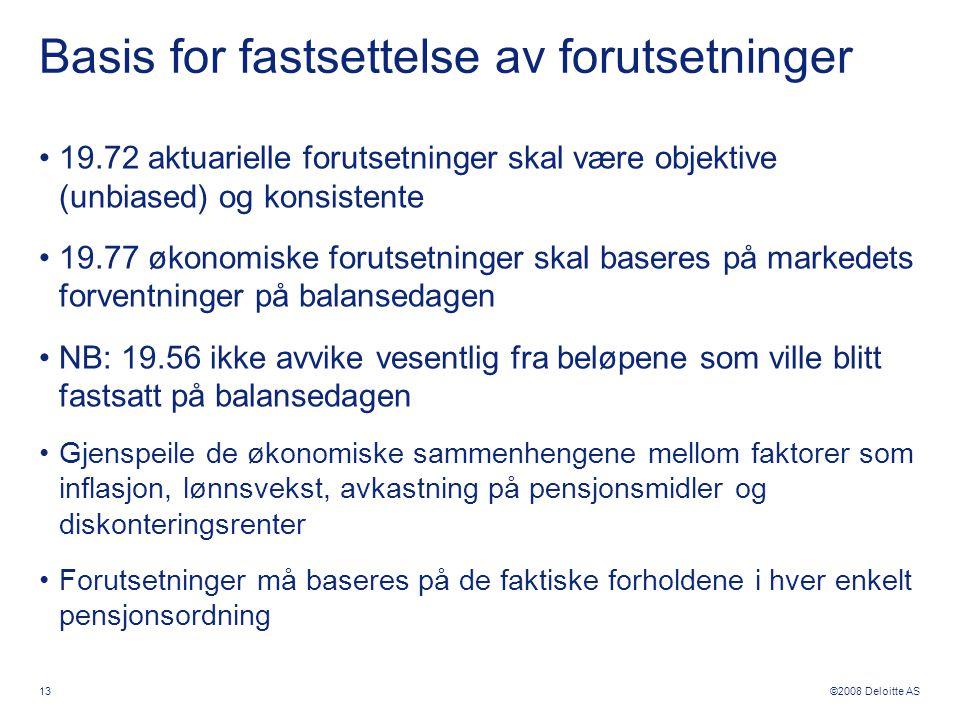 ©2008 Deloitte AS 13 Basis for fastsettelse av forutsetninger •19.72 aktuarielle forutsetninger skal være objektive (unbiased) og konsistente •19.77 ø