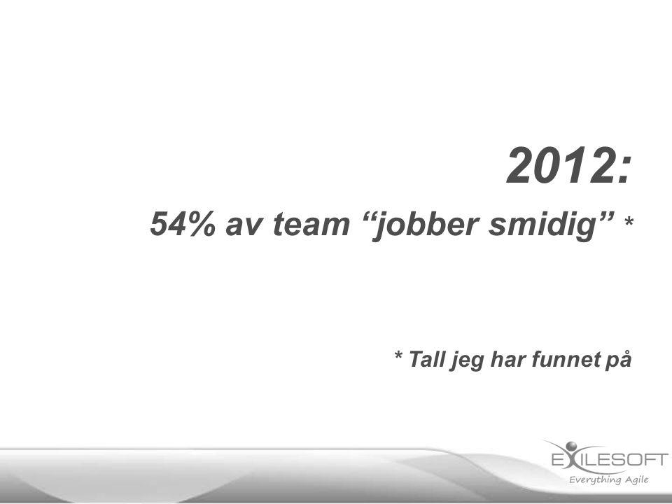 2012: 54% av team jobber smidig * * Tall jeg har funnet på