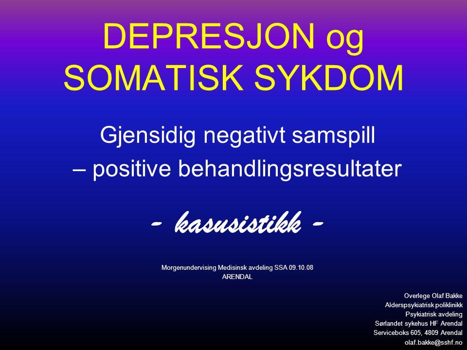 Depresjon : syndrom – kriterier – •Kjernesymptomer (2, eller 1 uttalt – min 2 uker) –Energimangel –Nedtrykt stemning –Klart nedsatt interesse eller lyst •Tilleggssymptomer (minst to av disse) –Psykomotorisk agitasjon- Pessimisme og eller retardasjon håpløshet –Søvnløshet/hypersomni- Selvanklager/skyldf.
