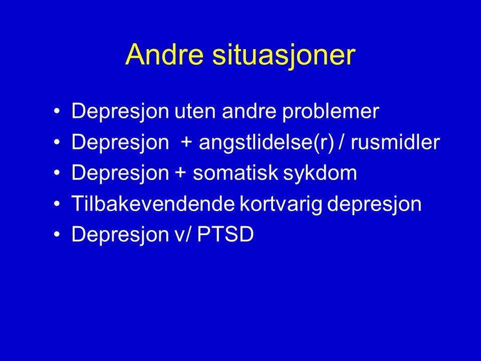 Andre situasjoner •Depresjon uten andre problemer •Depresjon + angstlidelse(r) / rusmidler •Depresjon + somatisk sykdom •Tilbakevendende kortvarig depresjon •Depresjon v/ PTSD