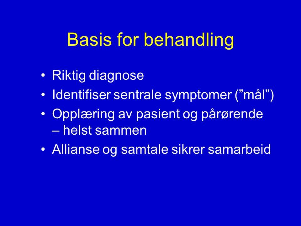 Basis for behandling •Riktig diagnose •Identifiser sentrale symptomer ( mål ) •Opplæring av pasient og pårørende – helst sammen •Allianse og samtale sikrer samarbeid