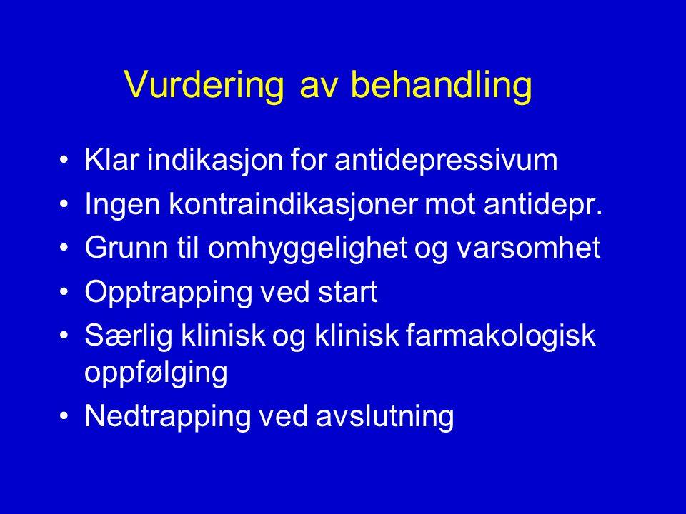 Vurdering av behandling •Klar indikasjon for antidepressivum •Ingen kontraindikasjoner mot antidepr.
