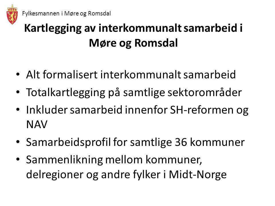 Fylkesmannen i Møre og Romsdal Kartlegging av interkommunalt samarbeid i Møre og Romsdal • Alt formalisert interkommunalt samarbeid • Totalkartlegging på samtlige sektorområder • Inkluder samarbeid innenfor SH-reformen og NAV • Samarbeidsprofil for samtlige 36 kommuner • Sammenlikning mellom kommuner, delregioner og andre fylker i Midt-Norge
