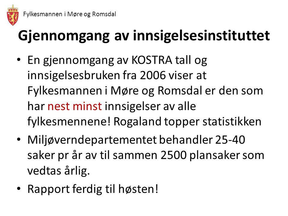 Fylkesmannen i Møre og Romsdal Gjennomgang av innsigelsesinstituttet • En gjennomgang av KOSTRA tall og innsigelsesbruken fra 2006 viser at Fylkesmannen i Møre og Romsdal er den som har nest minst innsigelser av alle fylkesmennene.