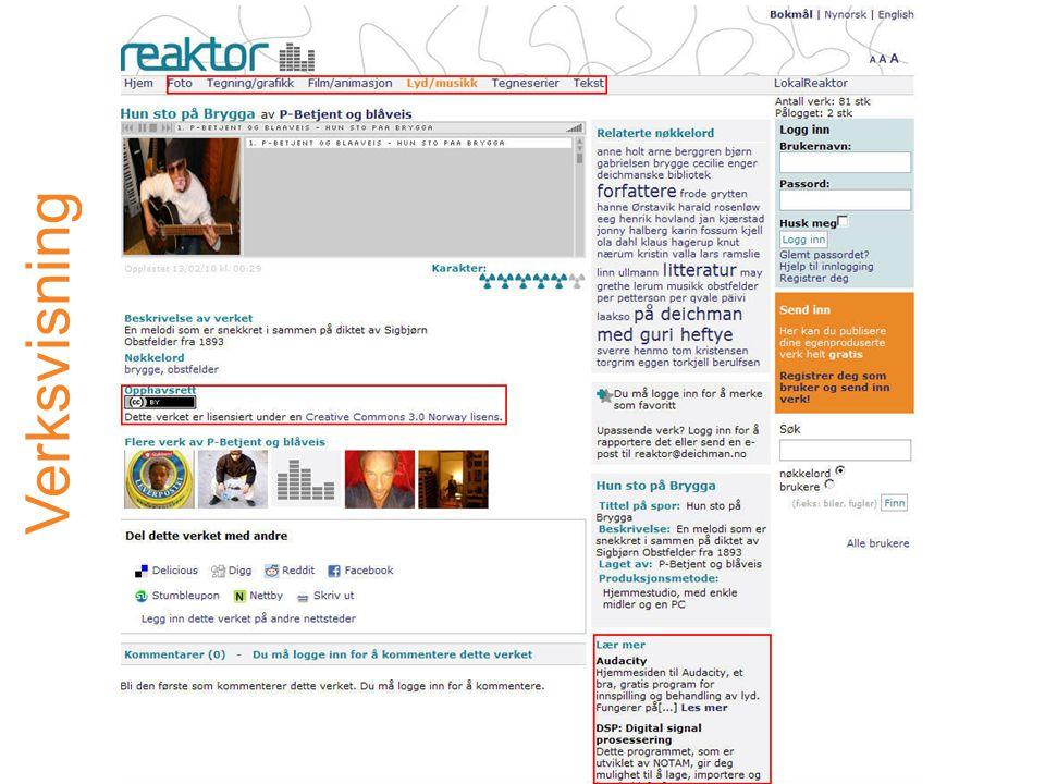 http://www.minreaktor.no/ Prosjektleder: Anne-Lena Westrum,Deichmanske bibliotek E-post: anne-lena.westrum@kul.oslo.kommune.no Prosjektblogg: http://minreaktor.wordpress.com