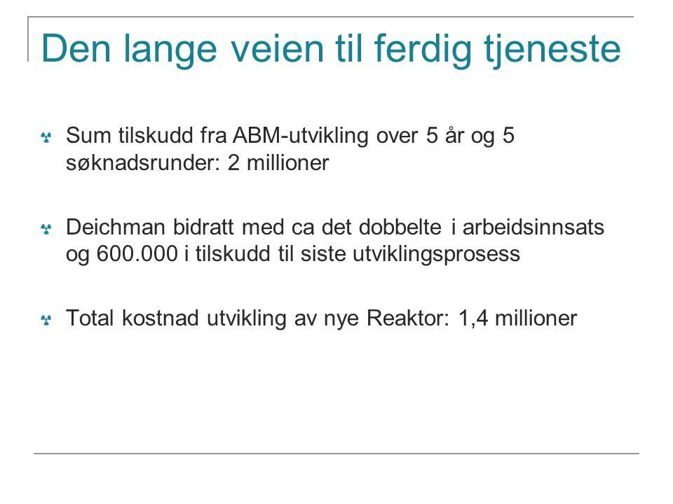 Den lange veien til ferdig tjeneste Sum tilskudd fra ABM-utvikling over 5 år og 5 søknadsrunder: 2 millioner Deichman bidratt med ca det dobbelte i ar