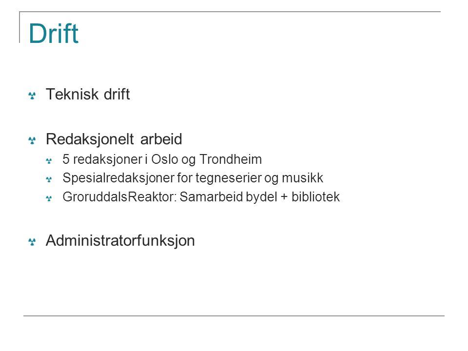 Drift Teknisk drift Redaksjonelt arbeid 5 redaksjoner i Oslo og Trondheim Spesialredaksjoner for tegneserier og musikk GroruddalsReaktor: Samarbeid by