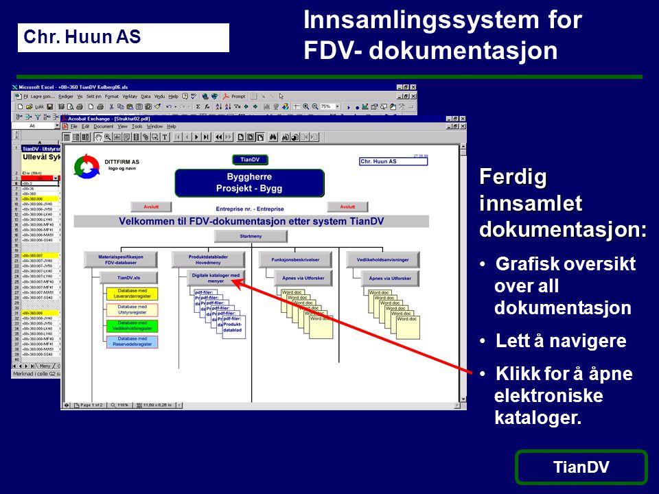 Chr. Huun AS TianDV Innsamlingssystem for FDV- dokumentasjon Ferdig innsamlet dokumentasjon: • Grafisk oversikt over all dokumentasjon • Lett å navige