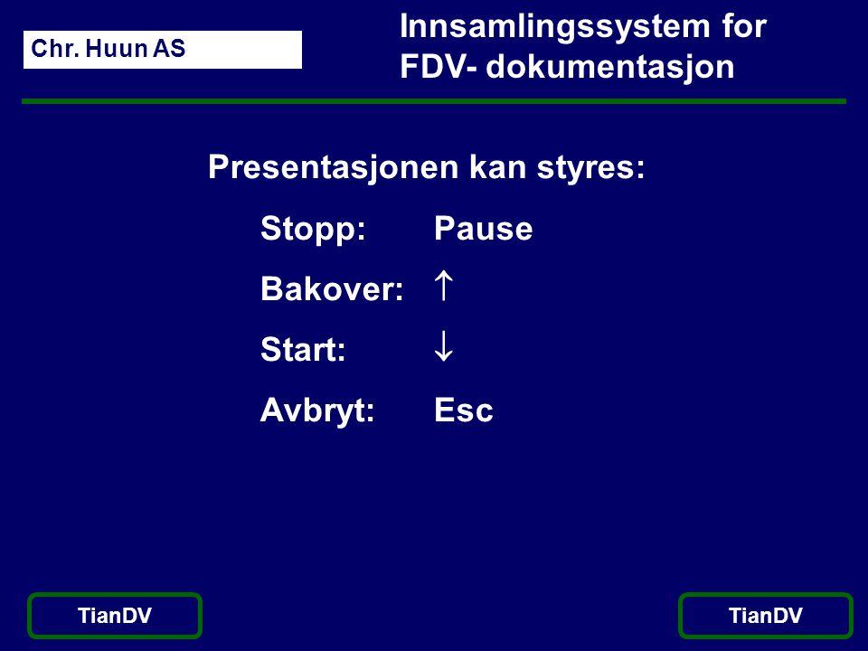 Chr. Huun AS TianDV Innsamlingssystem for FDV- dokumentasjon Presentasjonen kan styres: Stopp: Pause Bakover:  Start:  Avbryt: Esc