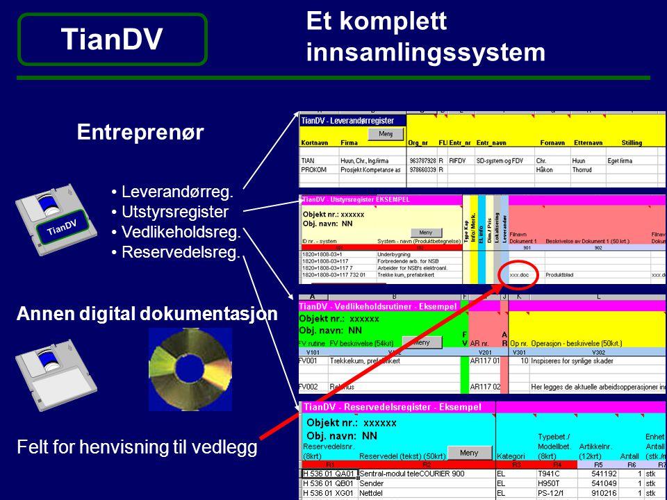 Et komplett innsamlingssystem Entreprenør Felt for henvisning til vedlegg • Leverandørreg. • Utstyrsregister • Vedlikeholdsreg. • Reservedelsreg. Anne