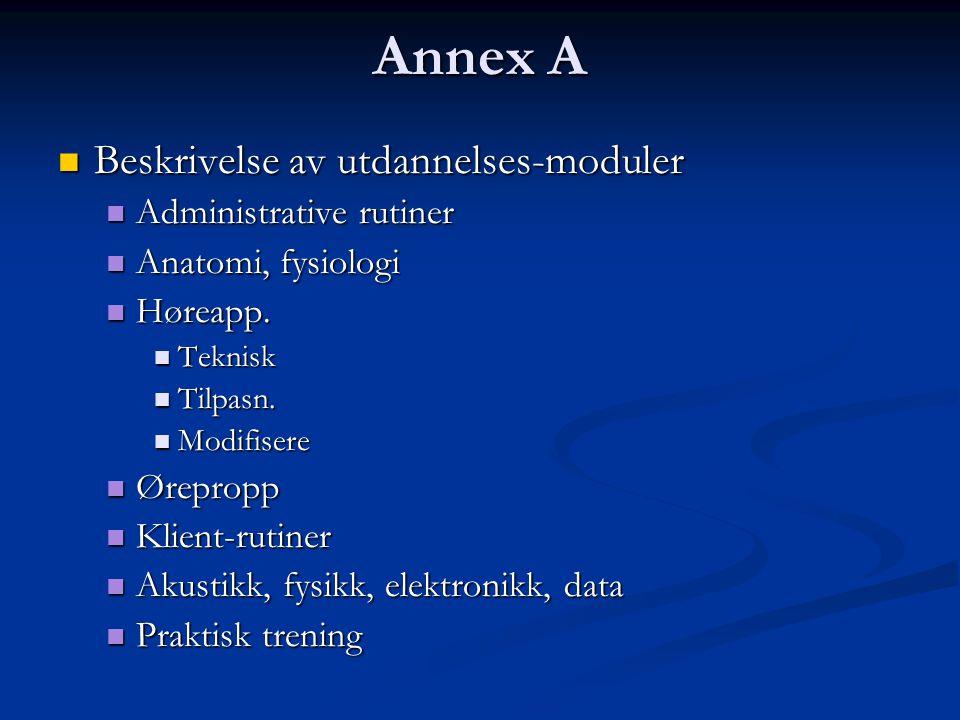 Annex A  Beskrivelse av utdannelses-moduler  Administrative rutiner  Anatomi, fysiologi  Høreapp.
