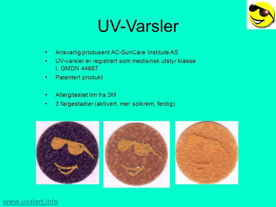 www.uvalert.info Teknisk Informasjon •Avansert lagvis polymerlag som skifter farge ved visse doser UV •FDA godkjent lim •Kalibrert for bruk med solfaktor ved hjelp av –PMA2100 Data Logger –PMA2101 UVB detektor •Testet av Statens Strålevern, Norge 2003.