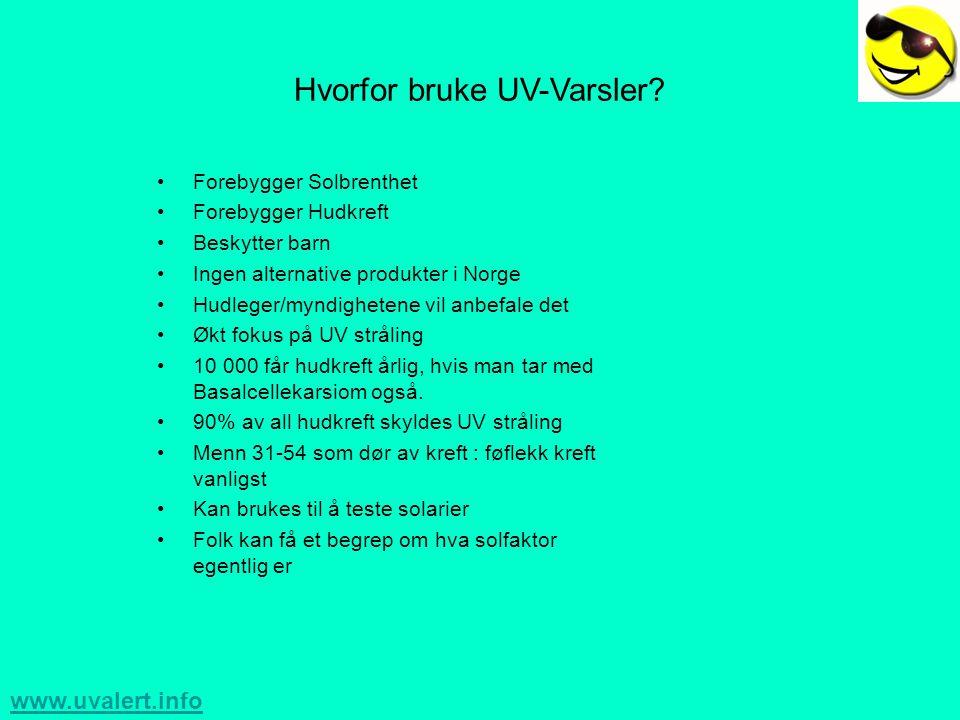 www.uvalert.info Hvorfor bruke UV-Varsler.