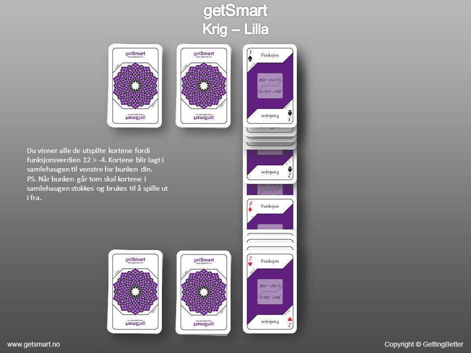 Du vinner alle de utspilte kortene fordi funksjonsverdien 12 > -4.