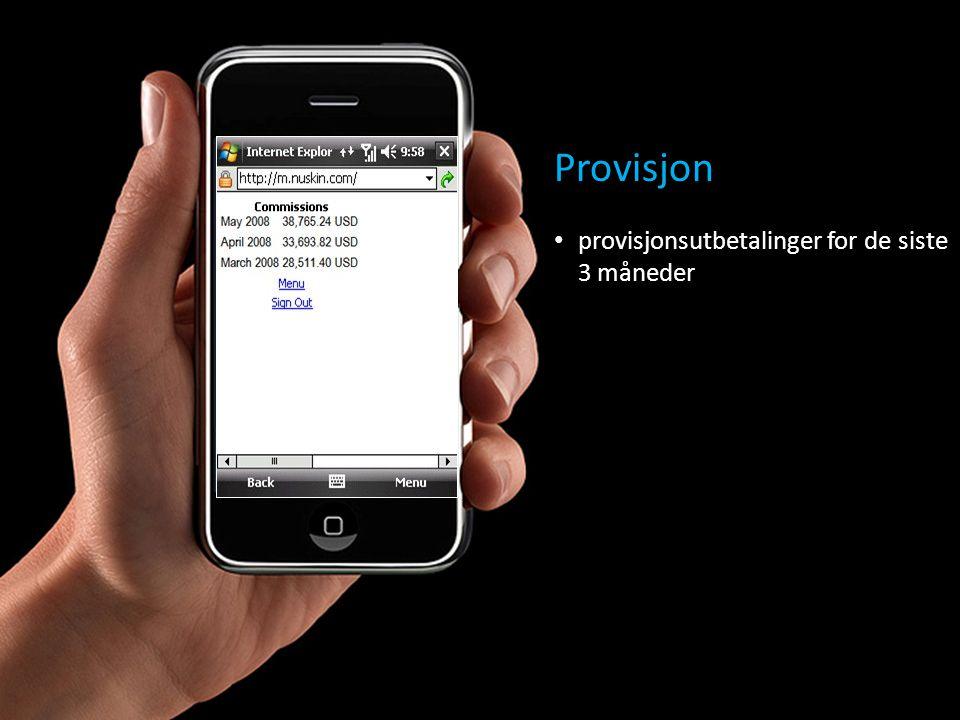 Provisjon • provisjonsutbetalinger for de siste 3 måneder