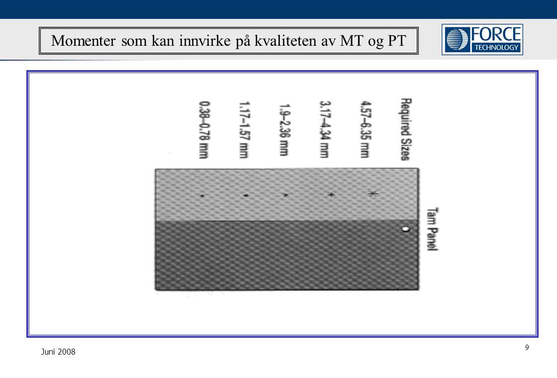 Juni 2008 Momenter som kan innvirke på kvaliteten av MT og PT 9