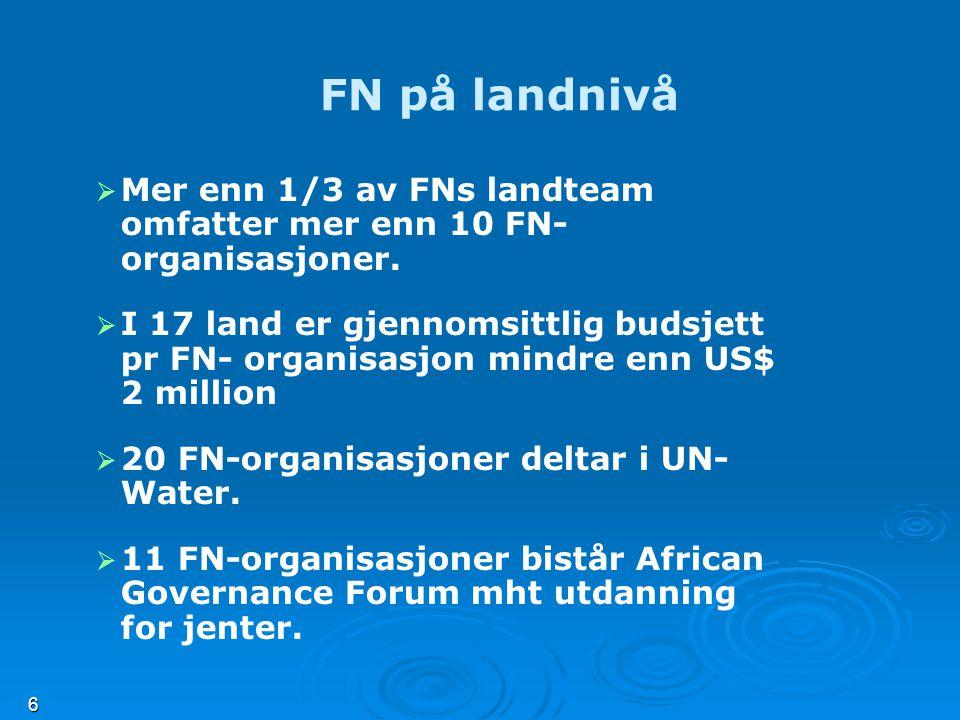 6 FN på landnivå   Mer enn 1/3 av FNs landteam omfatter mer enn 10 FN- organisasjoner.