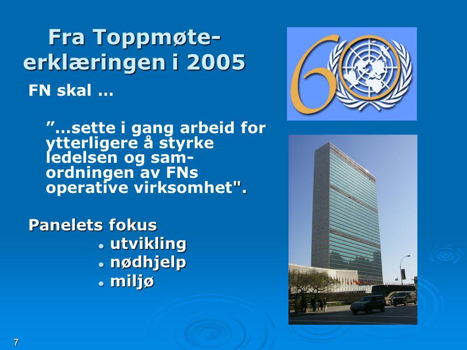 7 Fra Toppmøte- erklæringen i 2005 FN skal … .