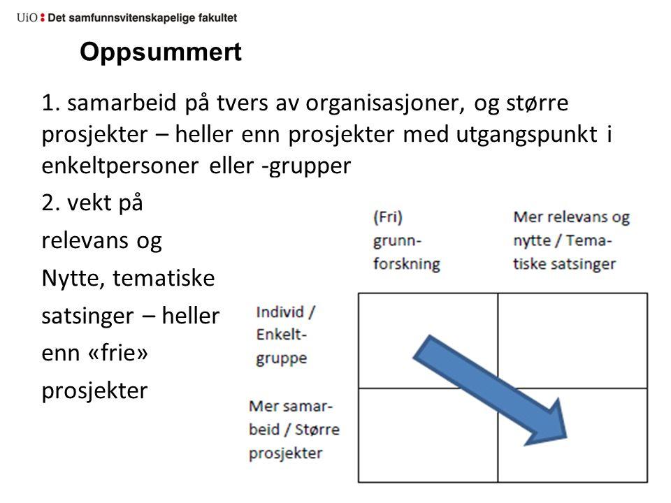 Oppsummert 1. samarbeid på tvers av organisasjoner, og større prosjekter – heller enn prosjekter med utgangspunkt i enkeltpersoner eller -grupper 2. v