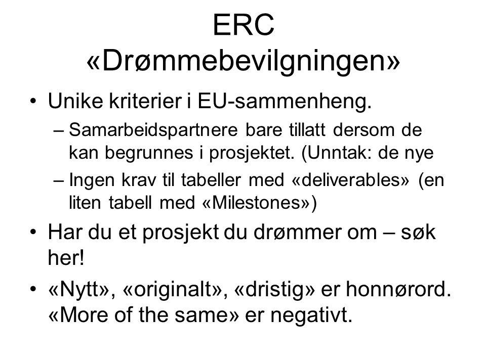 ERC «Drømmebevilgningen» •Unike kriterier i EU-sammenheng.