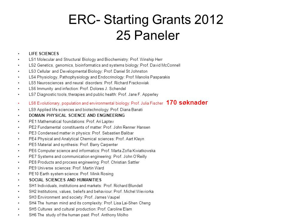ERC- Starting Grants 2012 25 Paneler •LIFE SCIENCES •LS1 Molecular and Structural Biology and Biochemistry: Prof.