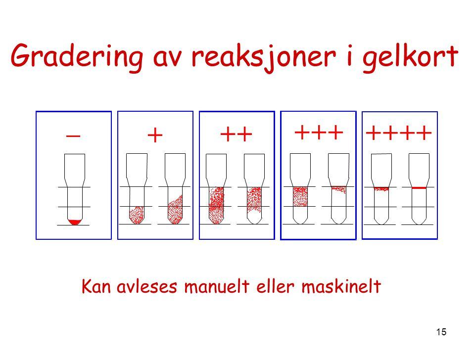 15 Gradering av reaksjoner i gelkort Kan avleses manuelt eller maskinelt