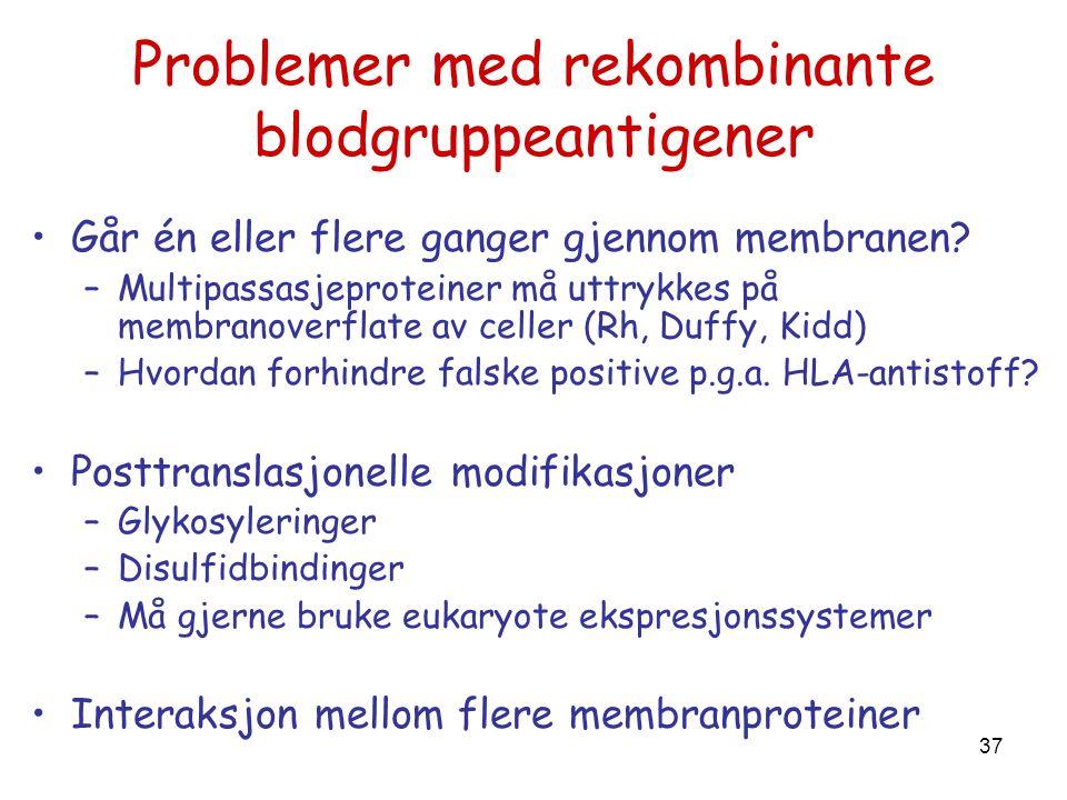 37 Problemer med rekombinante blodgruppeantigener •Går én eller flere ganger gjennom membranen? –Multipassasjeproteiner må uttrykkes på membranoverfla
