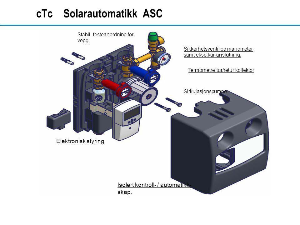 www.dahl.no cTc Solarautomatikk ASC Isolert kontroll- / automatikk- skap. Elektronisk styring Stabil festeanordning for vegg. Sikkerhetsventil og mano