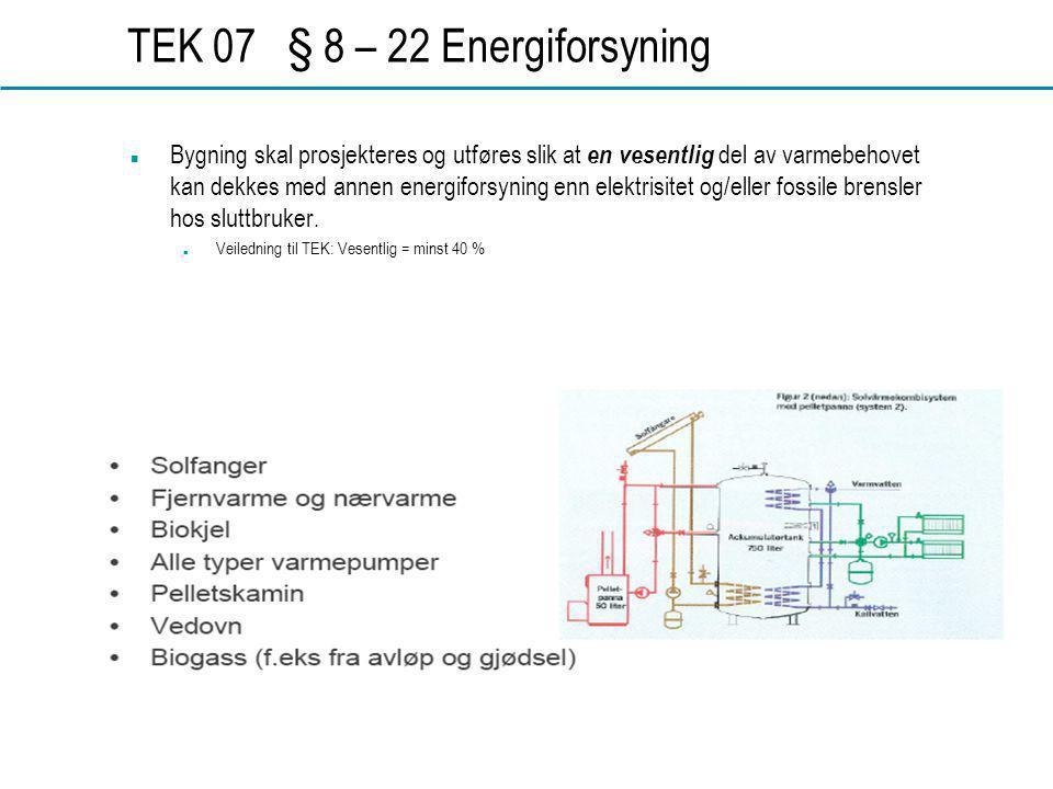 www.dahl.no TEK 07 § 8 – 22 Energiforsyning  Bygning skal prosjekteres og utføres slik at en vesentlig del av varmebehovet kan dekkes med annen energiforsyning enn elektrisitet og/eller fossile brensler hos sluttbruker.