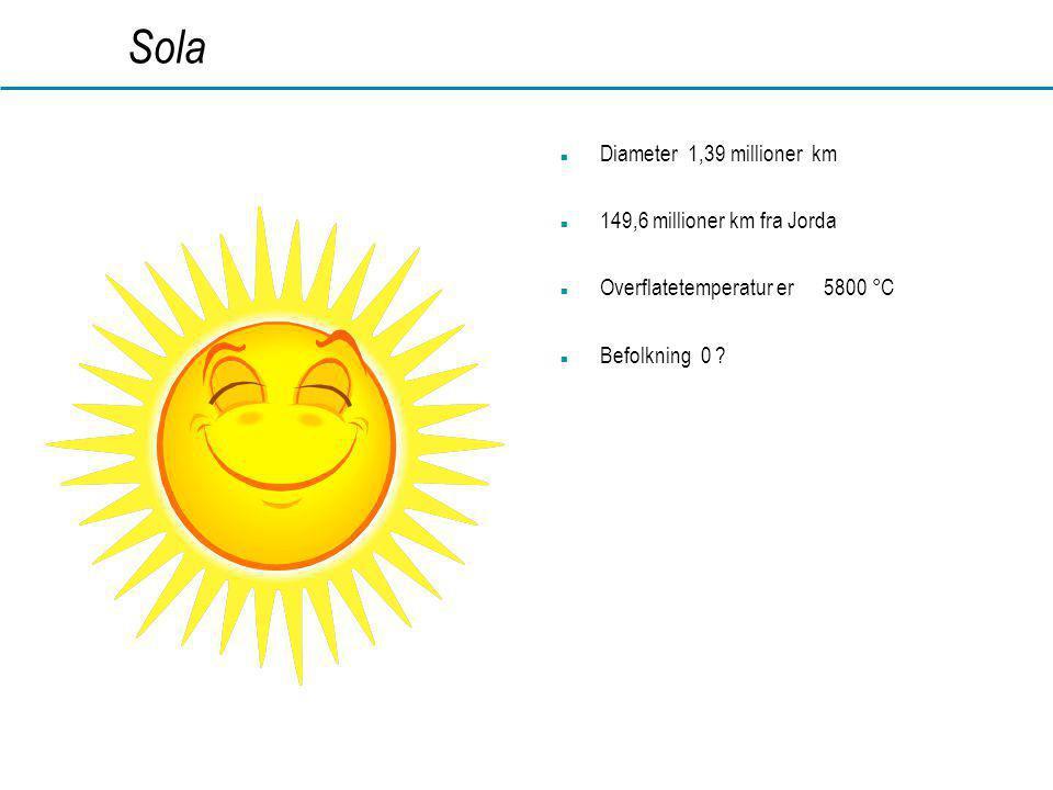 www.dahl.no Sola  Diameter 1,39 millioner km  149,6 millioner km fra Jorda  Overflatetemperatur er 5800 °C  Befolkning 0 ?