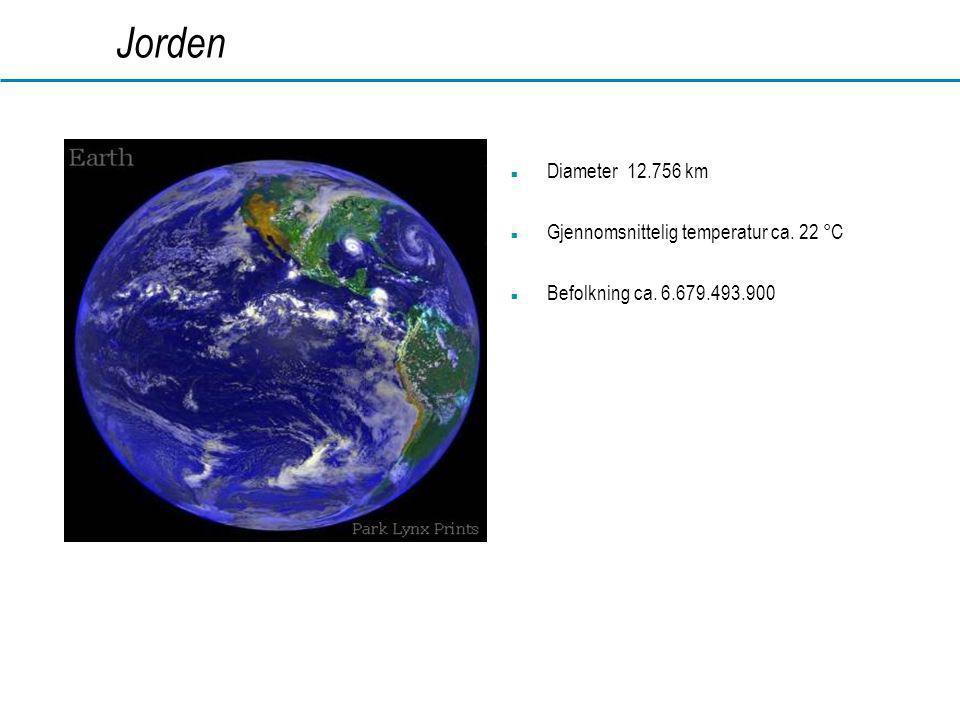 www.dahl.no Jorden  Diameter 12.756 km  Gjennomsnittelig temperatur ca. 22 °C  Befolkning ca. 6.679.493.900