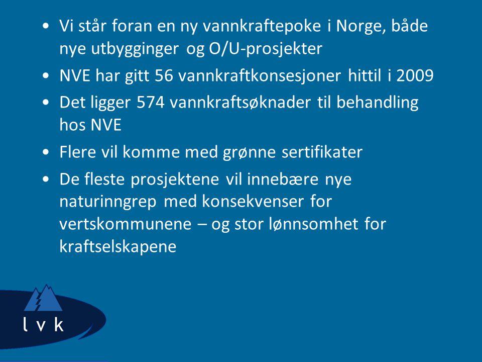 •Vi står foran en ny vannkraftepoke i Norge, både nye utbygginger og O/U-prosjekter •NVE har gitt 56 vannkraftkonsesjoner hittil i 2009 •Det ligger 574 vannkraftsøknader til behandling hos NVE •Flere vil komme med grønne sertifikater •De fleste prosjektene vil innebære nye naturinngrep med konsekvenser for vertskommunene – og stor lønnsomhet for kraftselskapene
