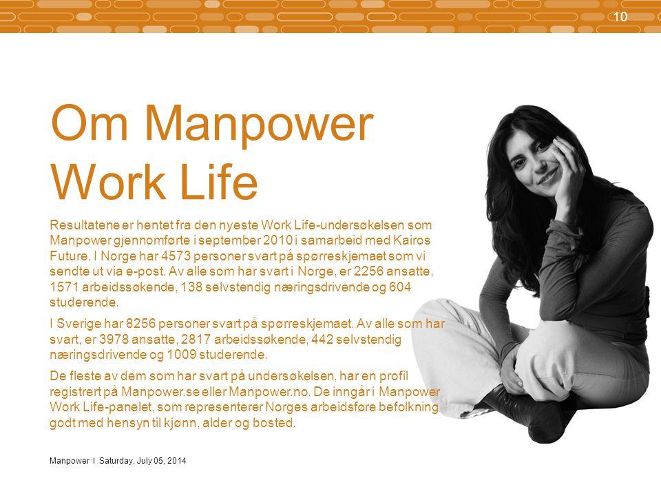 Manpower 10 Saturday, July 05, 2014 Om Manpower Work Life Resultatene er hentet fra den nyeste Work Life-undersøkelsen som Manpower gjennomførte i september 2010 i samarbeid med Kairos Future.