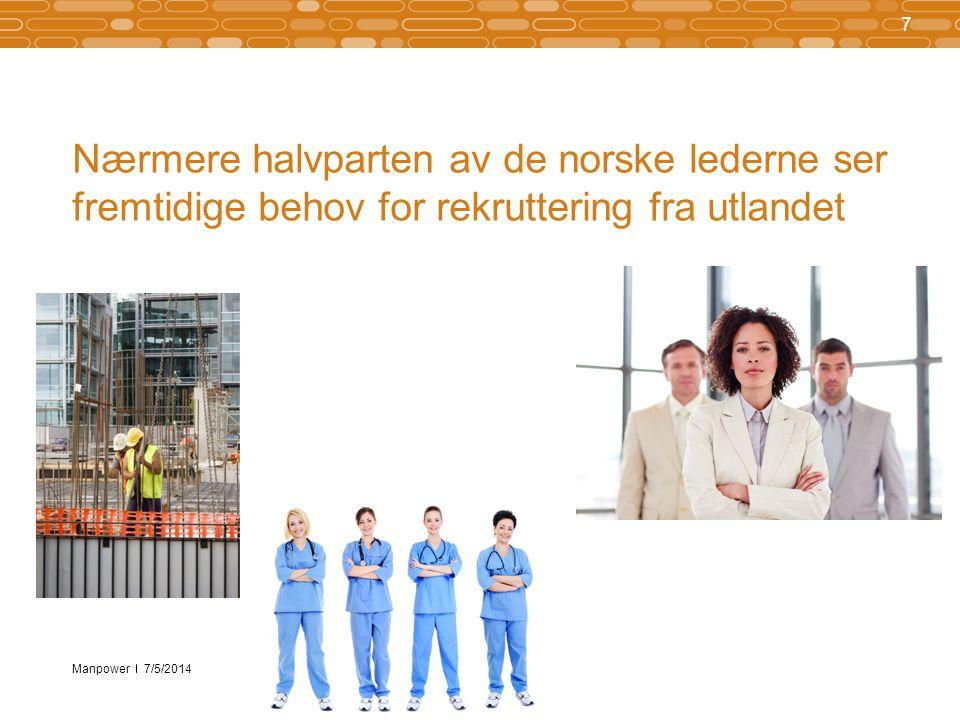 Manpower Nærmere halvparten av de norske lederne ser fremtidige behov for rekruttering fra utlandet 7 7/5/2014