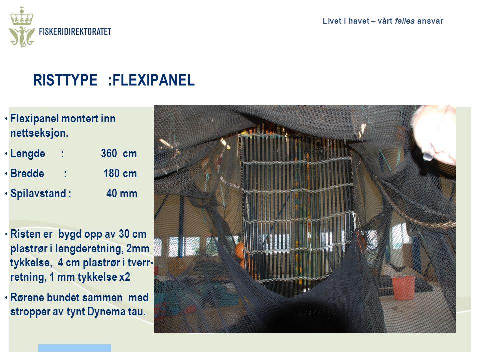Livet i havet – vårt felles ansvar RISTTYPE :FLEXIPANEL • Flexipanel montert inn nettseksjon.