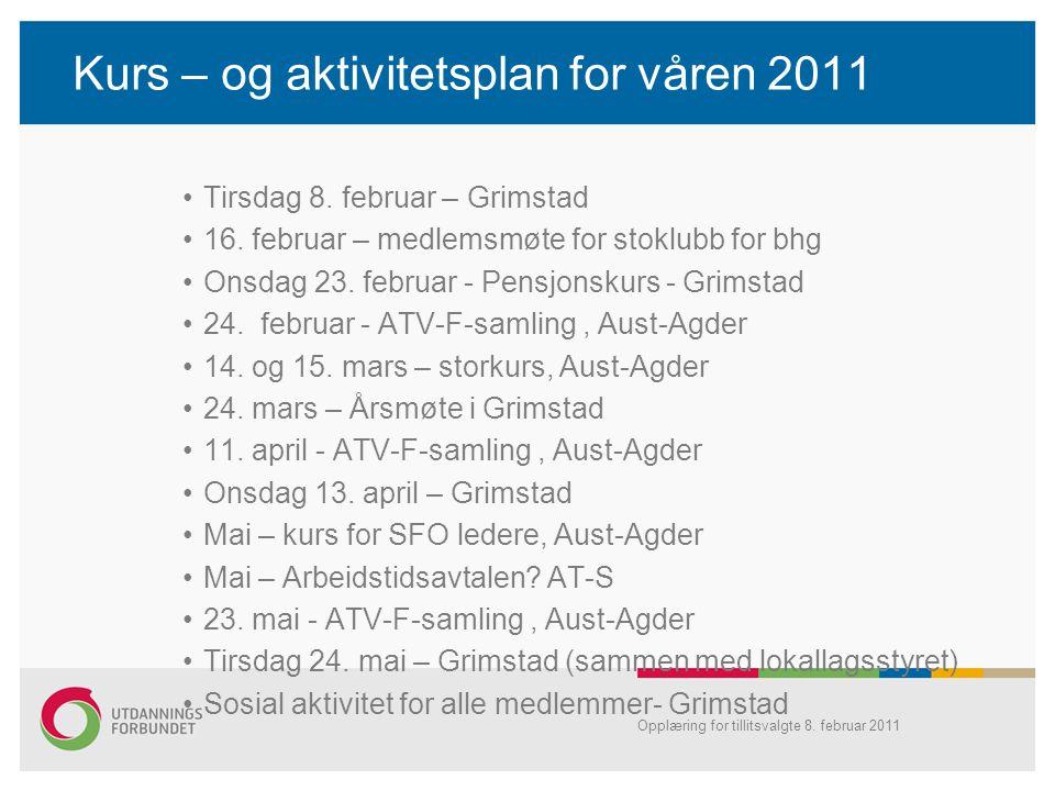 Kurs – og aktivitetsplan for våren 2011 •Tirsdag 8. februar – Grimstad •16. februar – medlemsmøte for stoklubb for bhg •Onsdag 23. februar - Pensjonsk