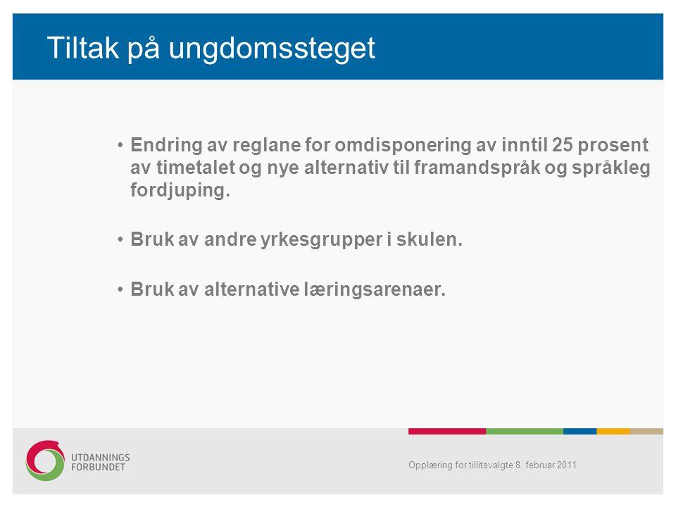 Tiltak på ungdomssteget •Endring av reglane for omdisponering av inntil 25 prosent av timetalet og nye alternativ til framandspråk og språkleg fordjup