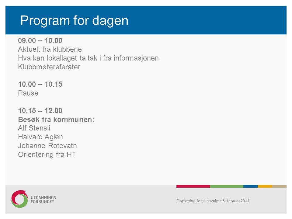 Opplæring for tillitsvalgte 8. februar 2011 Program for dagen 09.00 – 10.00 Aktuelt fra klubbene Hva kan lokallaget ta tak i fra informasjonen Klubbmø