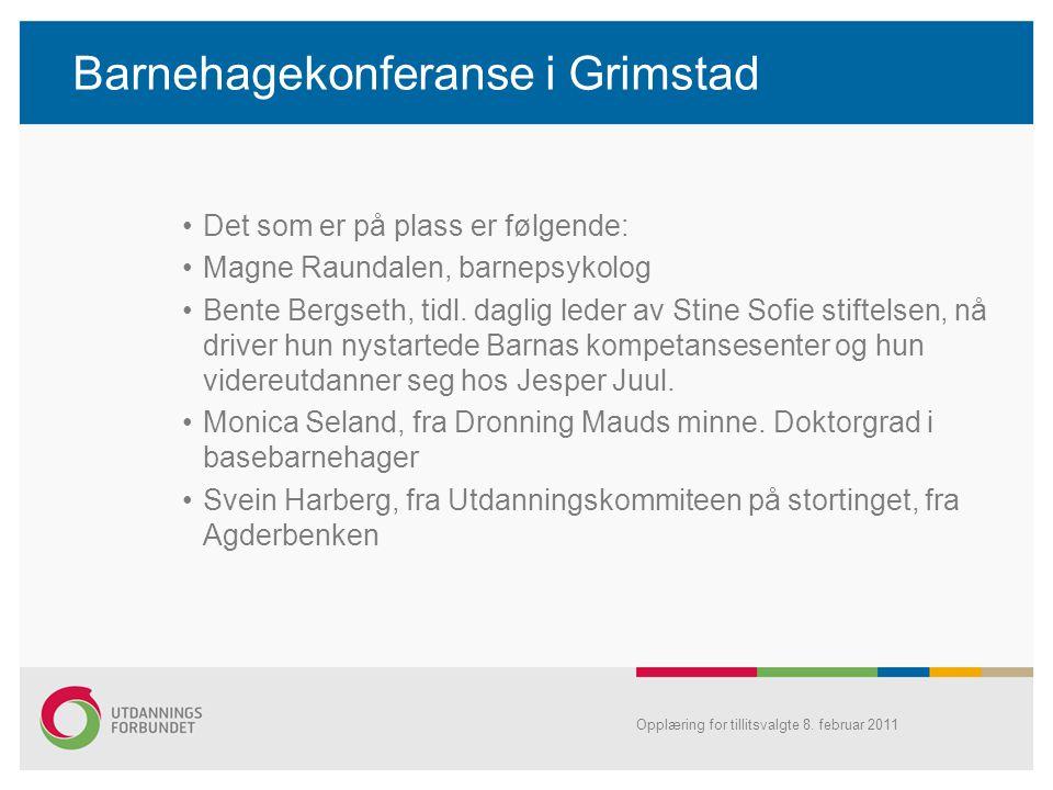Barnehagekonferanse i Grimstad •Det som er på plass er følgende: •Magne Raundalen, barnepsykolog •Bente Bergseth, tidl. daglig leder av Stine Sofie st