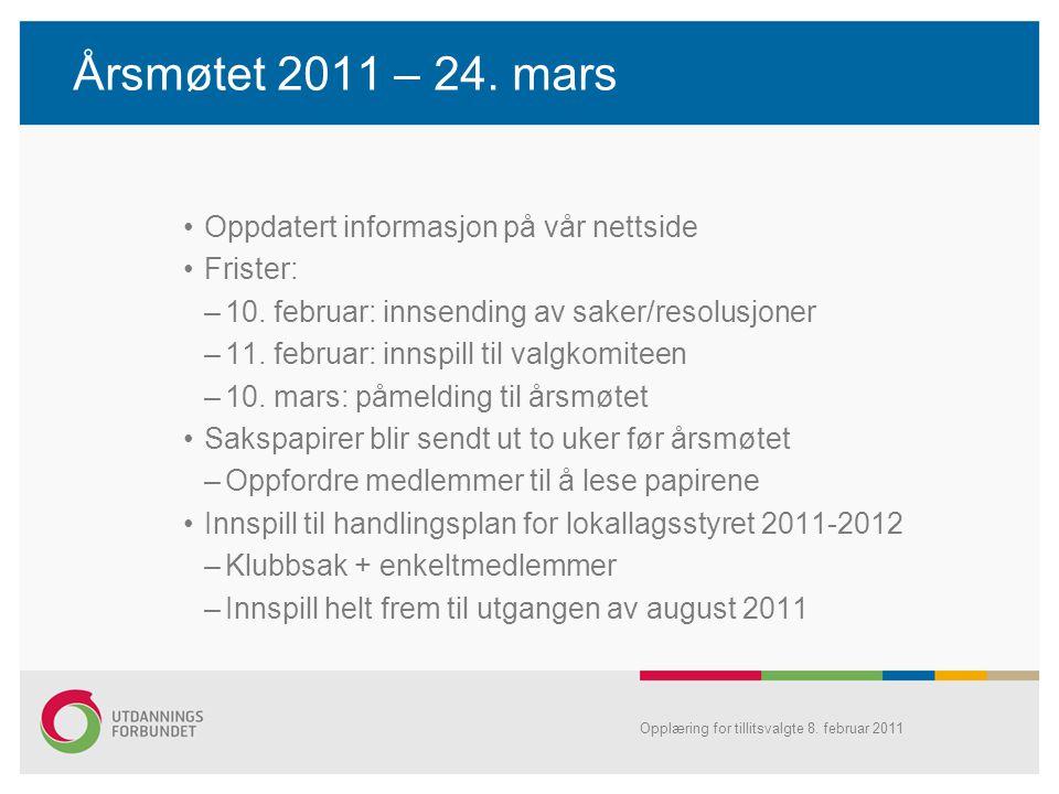 Årsmøtet 2011 – 24. mars •Oppdatert informasjon på vår nettside •Frister: –10. februar: innsending av saker/resolusjoner –11. februar: innspill til va