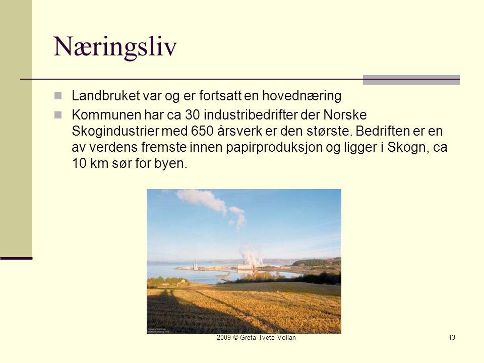 2009 © Greta Tvete Vollan13 Næringsliv  Landbruket var og er fortsatt en hovednæring  Kommunen har ca 30 industribedrifter der Norske Skogindustrier med 650 årsverk er den største.