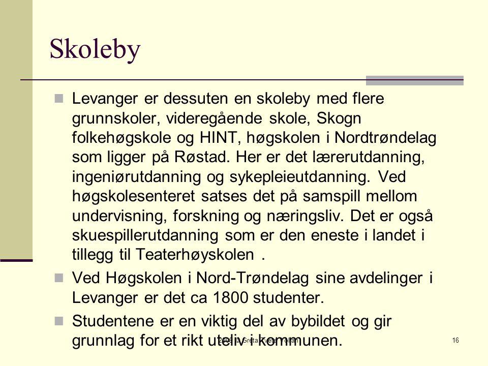2009 © Greta Tvete Vollan16 Skoleby  Levanger er dessuten en skoleby med flere grunnskoler, videregående skole, Skogn folkehøgskole og HINT, høgskolen i Nordtrøndelag som ligger på Røstad.