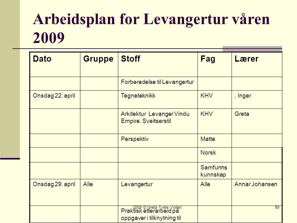 2009 © Greta Tvete Vollan89 Arbeidsplan for Levangertur våren 2009 DatoGruppeStoffFagLærer Forberedelse til Levangertur Onsdag 22.