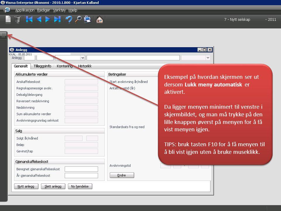 Page 16 Eksempel på hvordan skjermen ser ut dersom Lukk meny automatisk er aktivert.